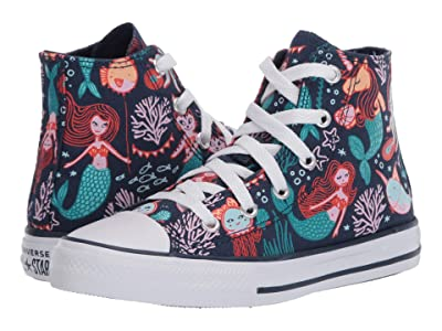 Converse Kids Chuck Taylor(r) All Star(r) Mermaid (Little Kid/Big Kid) (Navy/Rapid Teal/White) Girl