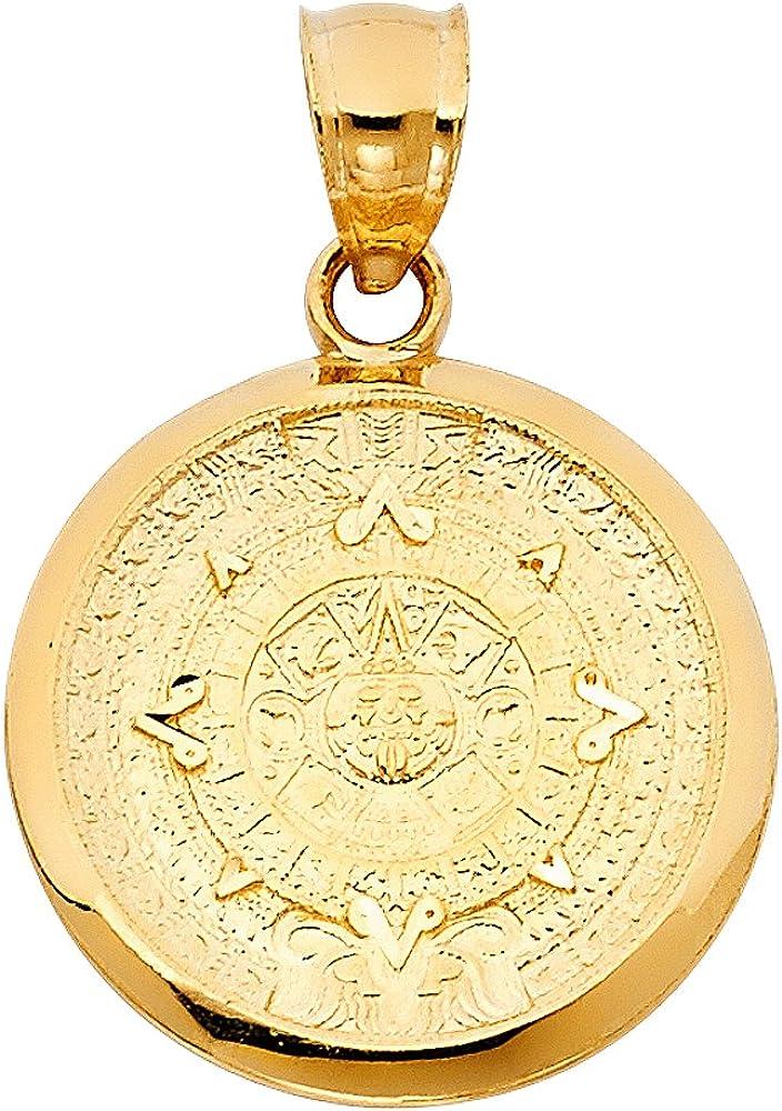 TGDJ 14k Yellow Gold Aztec Mayan Calendar Pendant - Diameter 21mm, 27mm, 36mm, 40mm