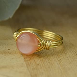 Round Peach Moonstone Coin Shaped Gemstone Sterling Silver, Yellow or Rose Gold Filled Wire Wrapped Ring- Custom made to size 4-14