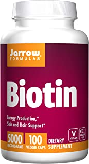 Jarrow Formulas Biotin 5000mcg, Supports Energy Production and Skin/Hair Support, 500 mcg, 100 Capsules (Pack of 2)