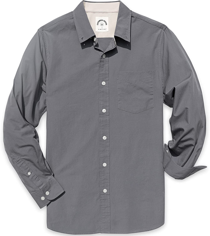 Dubinik Mens Button Down Long Sleeve Shirts 100% Cotton Plaid Casual Shirt with Pocket
