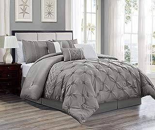 KingLinen 7 Piece Druce Gray Comforter Set Queen