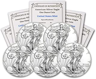 2020 Lot of (5) 1 oz Silver American Eagle Brilliant Uncirculated with our Certificates of Authenticity by CoinFolio $1 BU
