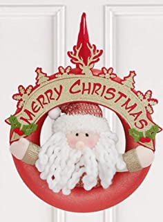 """YING LING CRAFTS 11"""" Christmas Red Wreaths for Decorations Front Door Wall, White Long Beard Sanda Claus Designed with Mer..."""