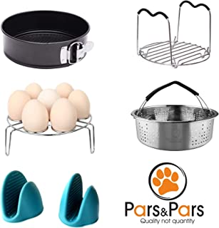 Pars&Pars Pressure Cooker Accessories Set 6 Pieces, Compatible with Instant Pot 5 qt,6 qt and 8 quart, Steamer Basket, Egg Steamer Rack, Non-stick Springform Pan, Steaming Rack, Silicone Cooking Mitts