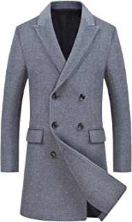 Men's Wool Coats Single Breasted Trench Coat Winter Jacket KEMCT