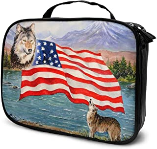 Cosmetic Bag Wildlife Freedom USA Flag Makeup Bag Lightweight Portable Cosmetic Case Water Resisted Cosmetic Makeup Bag Durable Organizer Makeup Boxes With Insulated Pockets For Travel