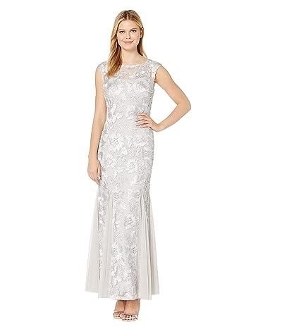 Alex Evenings Long Cap Sleeve Embroidered Dress with Godet Detail Skirt (Platinum) Women