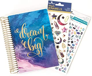 Paper House Productions SET0045 Stargazer Mini Planner and Sticker Bundle includes 12 Month Planner Laminated Cover, 2 Sticker Styles