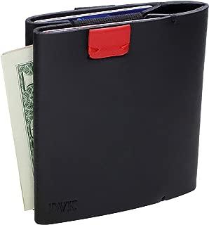 Slim Wallets for Men Genuine Leather Minimalist Front Pocket Wallet Credit Card Holder Elastic Money Clip (black)