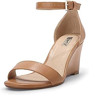 IDIFU Women's IN3 Ankle Strap Low Heel Wedge Sandals Open Toe Dress Evening Shoes