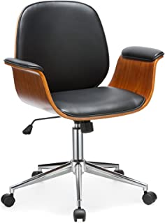 Office Chair Porthos Home Selma Office Chairs with Wheels, Curved Wooden Armrests, Height Adjustable Comfortable Premium Quality Design Luxury Modern Office Seating in Black Size 22x27x39 Inches