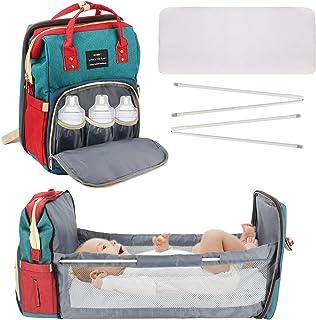 Yideng Babyblöjväska ryggsäck, bärbar blöjväska med skötbord, multifunktionell babyblöjväska för män och kvinnor, vattentä...