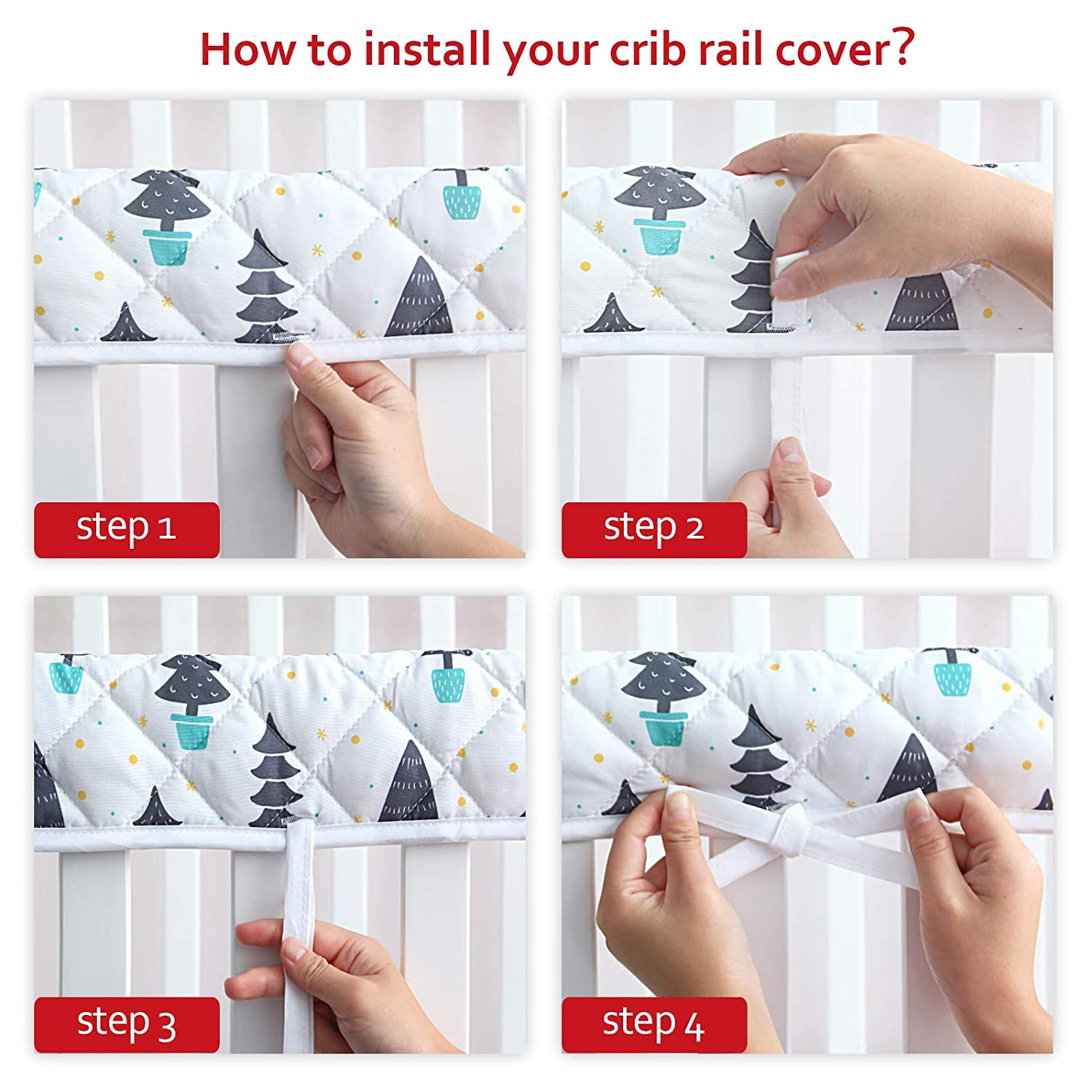 Safe and Secure Crib Rail Guard 3-Piece Padded Baby Crib Rail Cover Protector Set from Chewing Crib Rail Teething Guard for Standard Cribs 1 Front Rail and 2 Side Rails
