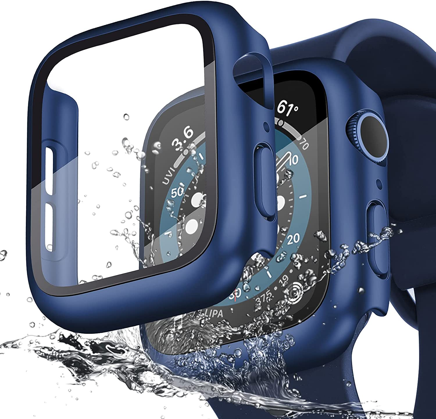 KADES Compatible for Apple Watch Case Waterproof 38mm 40mm 42mm 44mm, Tempered Glass Screen Protector Case Compatible with Apple Watch SE Series 3/4/5/6 (40mm, Blue)