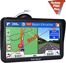 Car GPS Navigation,9 inch Truck GPS Touchscreen with Sunshade GPS Navigation System for Truck,8GB 256MB Navigation with POI Speed Camera Warning,Voice Guidance Lane,Free Lifetime Map Updates