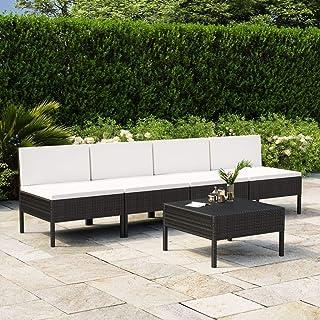 vidaXL Set de Muebles de Jardín 5 Piezas y Cojines Asiento Butaca Descanso Sofá Mueble Exterior Patio Elástica Estable Duradera Ratán Sintético Negro
