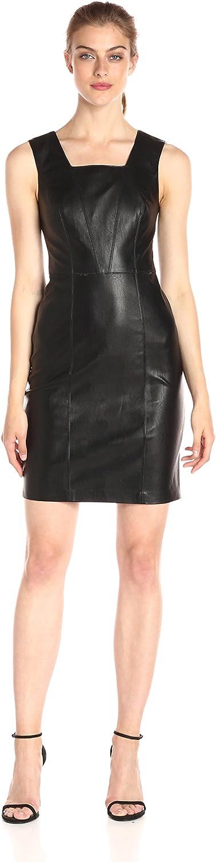 A X Armani Exchange Womens Square Neck Sleeveless EcoLeather Dress Dress