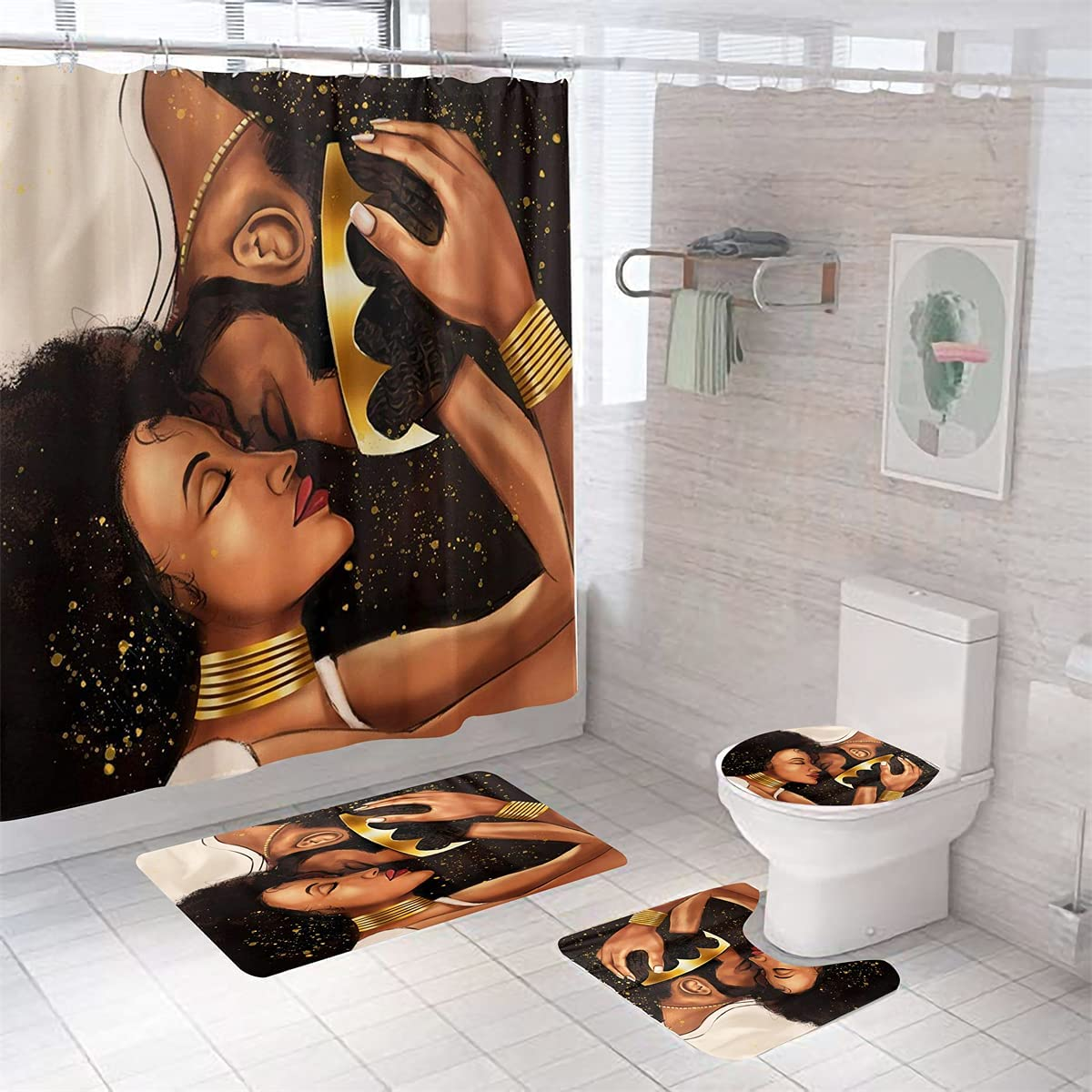 SHAOSAI African Bathroom Award Set with Toilet Cove Curtain Selling and selling Lid Shower