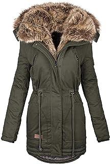 Womens Hooded Parka Jacket Winter,Memela Women`s Warm Winter Coat Sherpa Faux Fur Lined Outerwear Jackets with Fur Trim Hood