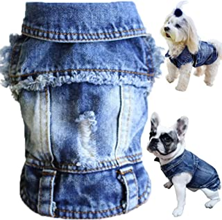 Brocarp Dog Jean Jacket, Blue Denim Lapel Vest Coat T-Shirt Costume Cute Girl Boy Dog Puppy Clothes, Comfort and Cool Appa...