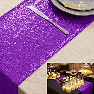 ShinyBeauty Purple Table Runners Pack of 5 Wedding Decor Sequin Table Runner 13in X 108in Purple Table