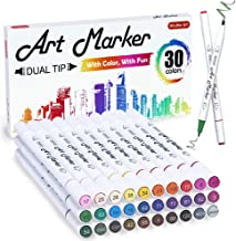 30 Colors Dual Tip Art Markers, Shuttle Art Marker Pens Perfect for Kids Adult Coloring Books Sketching and Card Making