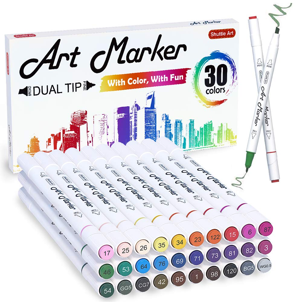 셔틀 아트 30색 듀얼 유성 마커 펜 세트 Shuttle Art 30 Colors Dual Tip Alcohol Based Art Markers