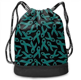 Drawstring Backpack Ovarian Cancer Awareness Ribbon Men & Women Gym Sport Yoga Rucksack Shoulder Bags