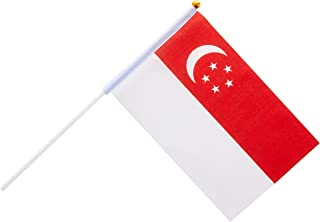 Partyforte Singapore Flag Hand-Held, 10 Count, SGHHFx10