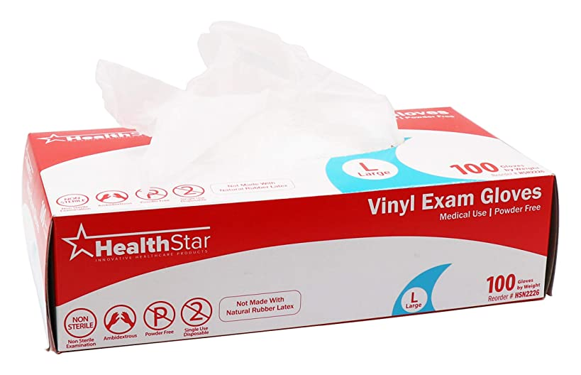 Healthstar Vinyl Medical Grade Exam Gloves, Large, 100 Count | Precision Fit, Latex Free, Non Sterile, Powder Free, Clear Disposable Gloves for Single Use | Also for Food Service and Housekeeping