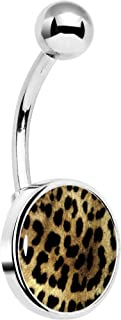 Stainless Steel Let The Animals All Hang Out Leopard Print Belly Button Ring