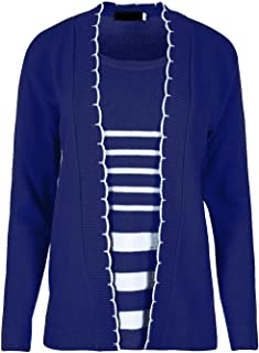 Ladies Sweater Insert Knitted Twin Set Jumper Womens Long Sleeve Casual Cardigan