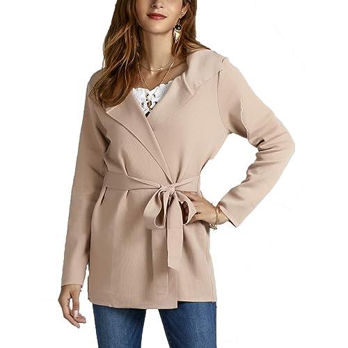 9e6639b13f BTFBM Women Lapel Long Sleeve Knit Sweater Coat Draped Open Front Kitted  Cardigan Outwear with Belt