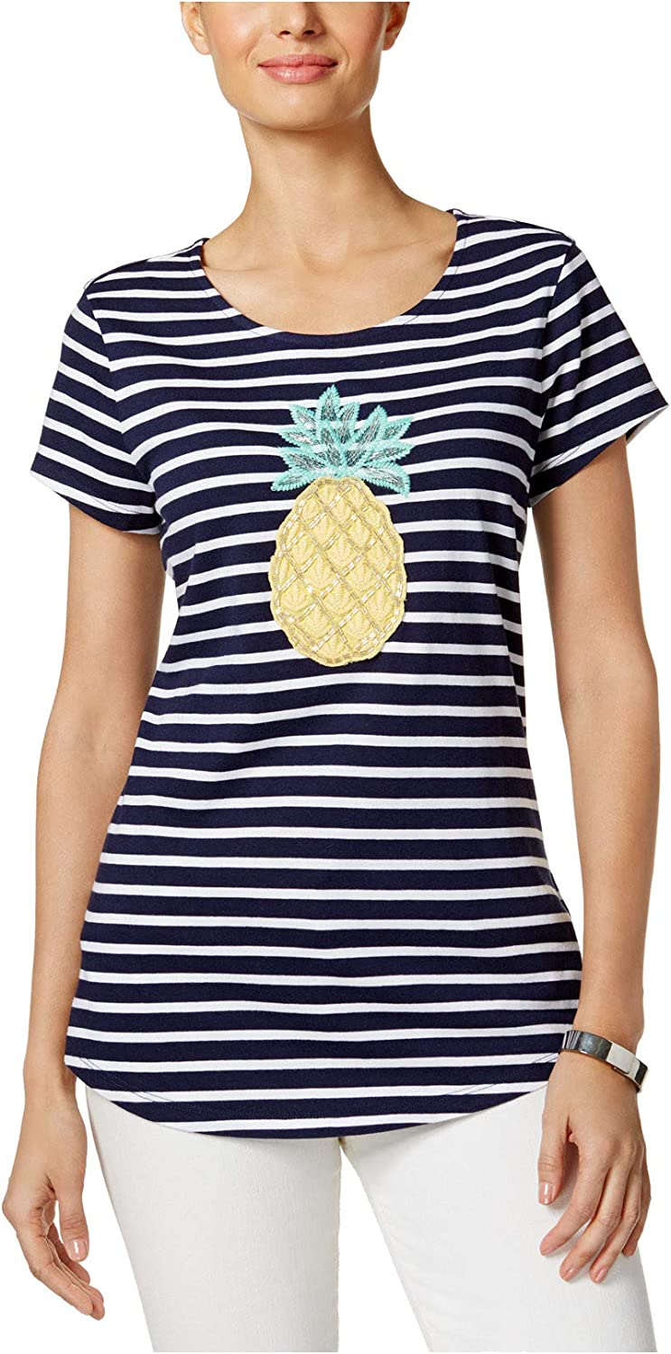 Charter Club Women's Striped Embroidered Top Intrepid bluee Combo Medium