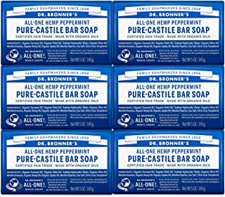 Dr. Bronner's - Pure-Castile Bar Soap (Peppermint, 5 ounce, 6-Pack) - Made with Organic Oils, For Face, Body & Hair, Gentl...