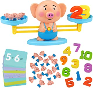 Aitbay Balance Cool Math Game for Toddlers Ages 3-5, Piggy Educational Counting Toys STEM Preschool Number Learning Games ...
