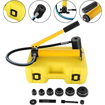 HFS R 10 Ton Hydraulic Knockout Punch Hole Driver Kit Complete Tool Set with 6 Dies