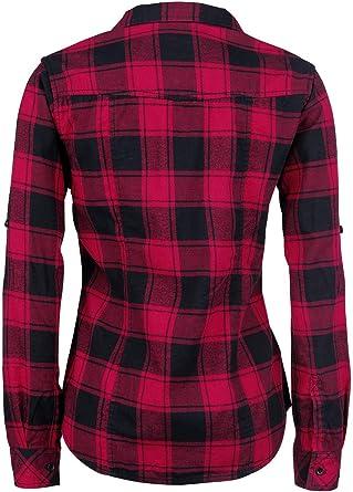 Brandit Camisa a Cuadros de Franela Amy Mujer Camisa de Franela Negro/Rojo, innen aufgeraut Regular