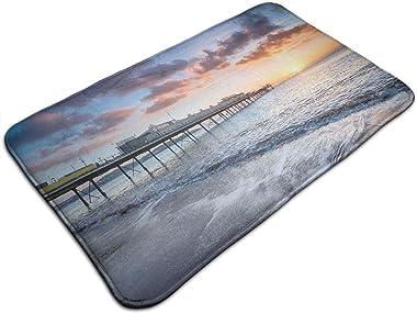 Nongmei Alfombras de baño,alfombras de baño,Dramático Paignton Pier English Seaside Resort Devon Be,Alfombras Antideslizantes