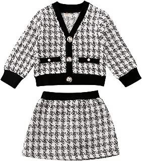 Toddler Baby Girls Plaid Skirt Set Cardigan Jacket Coat and Tutu Dress Long Sleeve Fall Outfits Clothes Set