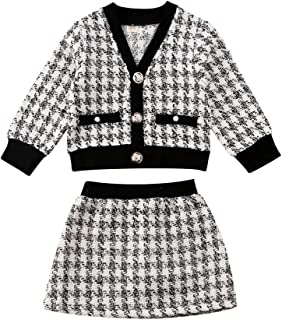 Toddler Baby Girl Plaid Skirt Outfit Cardigan Jacket Coat & Tutu Dress Long Sleeve Outfits Fall Winter Clothes Set