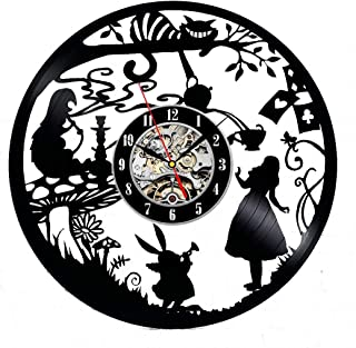 Alice in Wonderland Vinyl Wall Clock 12 in(30cm) Black Decor Modern Decorative Vinyl Record Wall Clock This Clock is A Unique Gift to Your Friends and Family for Any Occasion