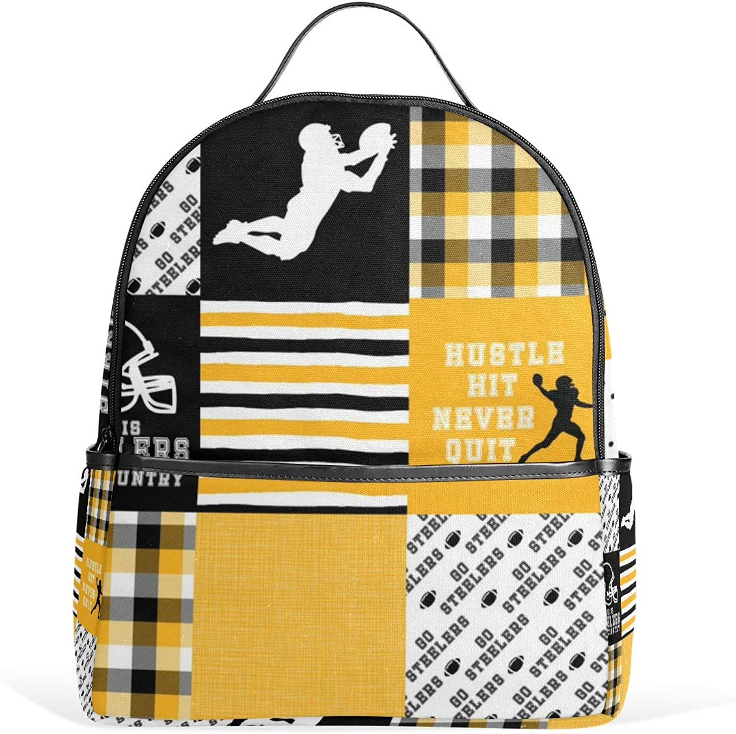 Footballhustle Hit Never Quit Steelers Wholecloth Cheater Quilt Backpack for Men Women Back Pack Shoulder Bag Daypacks Teenagers's Travel bagpacks Casual Daypack for Travel