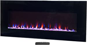 """Northwest Electric Fireplace Wall Mounted, LED Fire and Ice Flame, with Remote 42 inch, (L) 42"""" x (W) 4.75"""" x (H) 20"""", Black"""