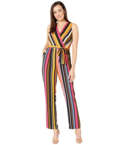 Vince Camuto Sleeveless Oasis Stripe Belted Jumpsuit (Rich Black) Women