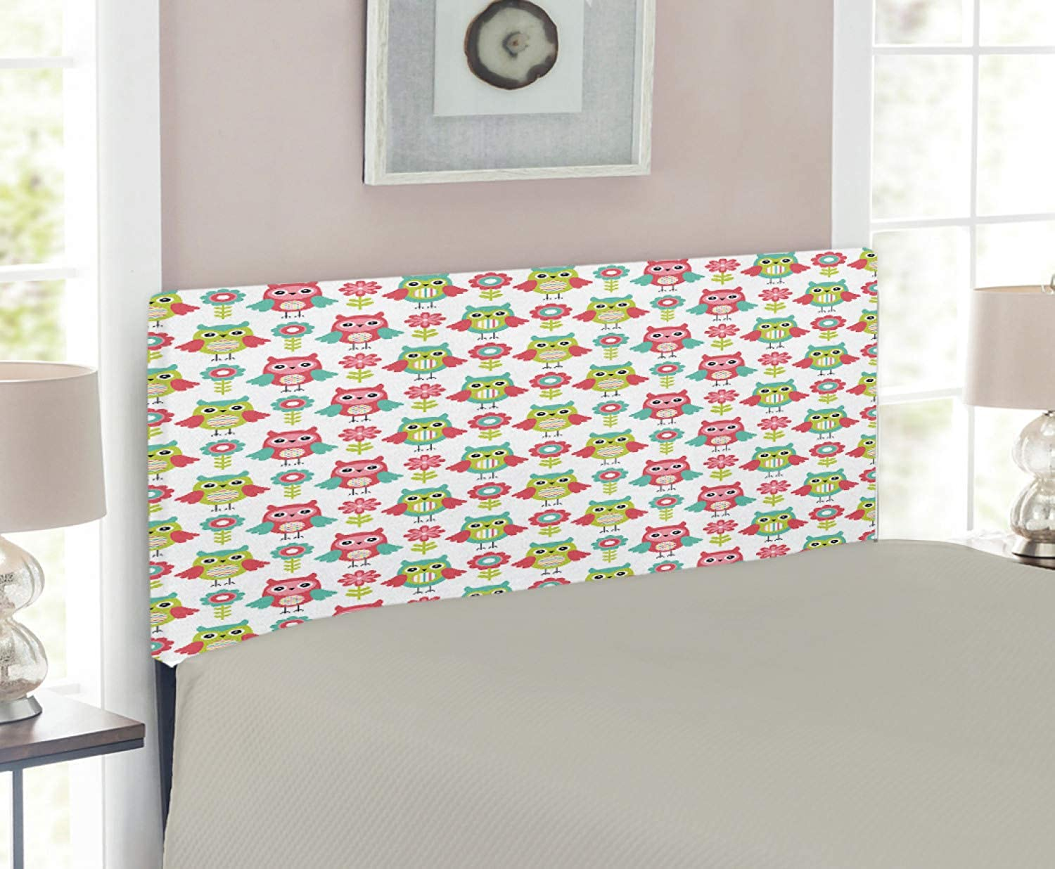 Lunarable Owls Headboard for Twin Size Bed, Cute Cartoon Owls with Flowers Cheerful Design Animals Pattern Art, Upholstered Decorative Metal Headboard with Memory Foam, Dark Coral Seafoam Apple Green