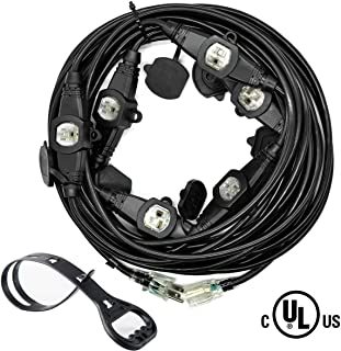 Yodotek 50FT Power Extension Cord 3 Prong,Seven Nema 5-15R Female Socket.Blue LED Indicator.14 Gauge SJTW Cable Male Plug To Female Connector,Stage Backlines Power Board,UL Listed Outlet Cable