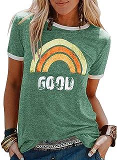 kolila Womens T-Shirt Blouse,Graphic Tees Good Vibes Shirt Short Sleeve Funny T Shirts Rainbow Print Cute Summer Tops