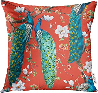 Emvency Throw Pillow Cover Watercolor Peacock Lover Blooming Cherry Trees White Magnolia Flowers Japanese Sakura Festival Decorative Pillow Case Home Decor Square 18x18 Inches Pillowcase